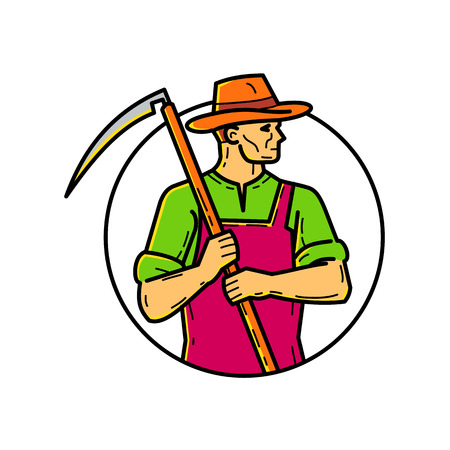 Mono line illustration of an organic farmer, agriculturist or agriculturer, holding scythe, an agricultural hand tool, on shoulder looking to side set inside circle done in monoline style.