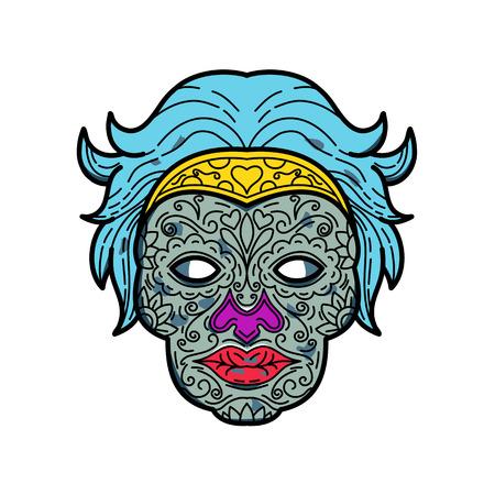 女性のカラベラや砂糖の頭蓋骨のモノラインイラスト、死者の日のメキシコのお祝いで使用される砂糖や粘土から作られた食用装飾頭蓋骨。
