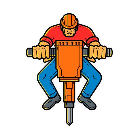Line illustration of a construction worker operating a jackhammer Illustration
