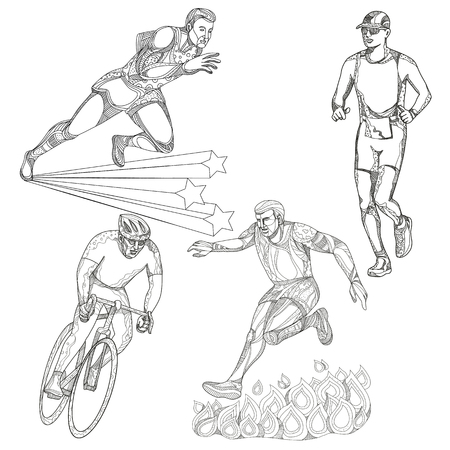 A collection of doodle art illustrations that includes the following sports; track and field runner, marathon or triathlete runner, obstacle course race and bicycle or cycling done in black and white.