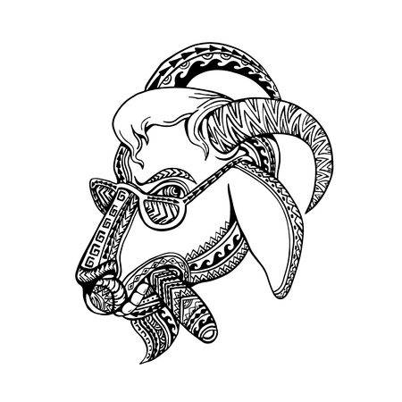 Tribal tattoo style illustration of head of a goat smoking cigar and wearing sunglasses with bighorn done inblack and white.