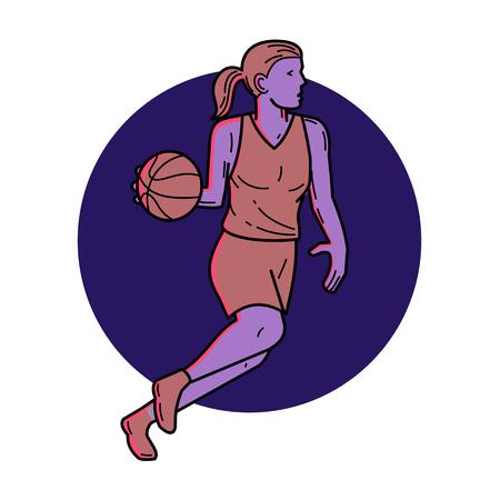 ●女性バスケットボール選手のドリブルボールのラインイラストは、円の内側に設定されたサイドセットから見てパスを見て見ています