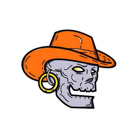 Mono illustration de la ligne d & # 39 ; un crâne de pirate portant un chapeau de cow-boy et boucle à la recherche sur le côté dans un style arrière-plan isolé. fait dans le style de ligne Banque d'images - 97450353