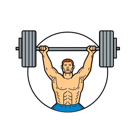 Line illustration of a weightlifter set inside a circle
