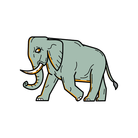 Line illustration of an African elephant walking viewed from side Stock Illustratie