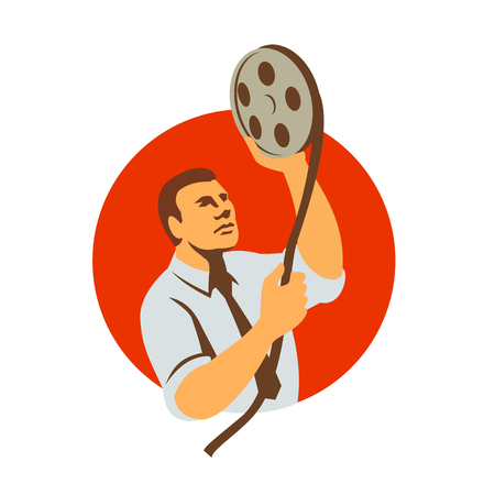 Retro style illustration of a film editor holding a film canister looking at film reel and editing raw footage in post-production set inside circle on isolated background.