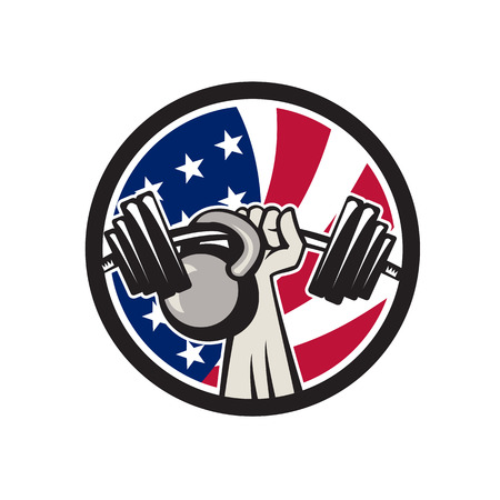 Icon retro style illustration of an American hand lifting a barbell and kettlebell.