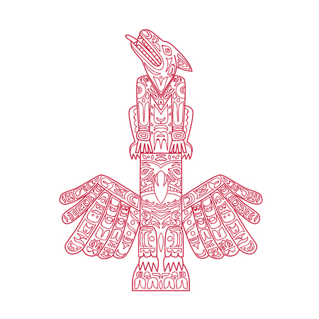 Doodle art illustration of a wolf and eagle totem pole, a type of Northwest Coast art, consisting of poles, posts or pillars, with symbols or figures on top of each other done in mandala style.