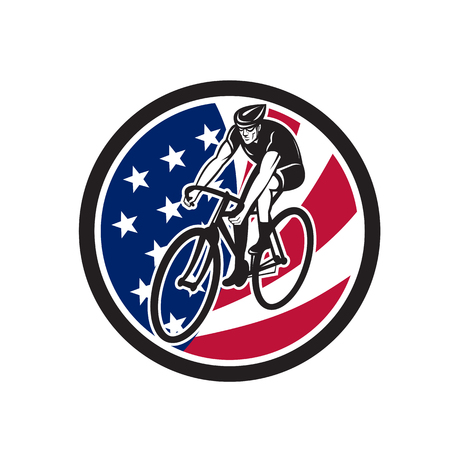 Icon retro style illustration of an American cyclist cycling riding on road bike with United States of America star spangled banner.