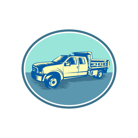 Retro woodcut style illustration of a Tipper Pick-up or pickup truck. Ilustracja