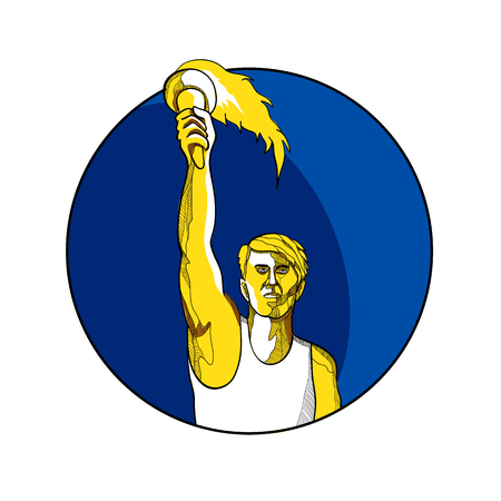 Drawing sketch style illustration of a track and field athlete raising up a flaming torch with burning flames viewed from front set inside circle.