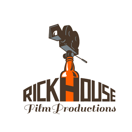 Icon retro style illustration of a vintage 35mm Motion Picture Camera, film or movie camera set on top of whisky bottle with words Rickhouse Film Productions set on isolated background.