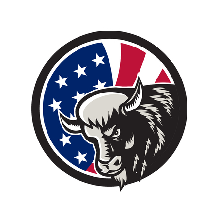Icon retro style illustration of a North American buffalo or bison with United States of America star spangled banner. Çizim