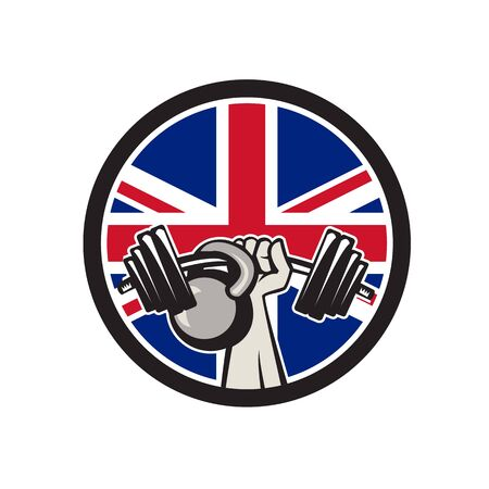 Icon retro style illustration of a British hand lifting a barbell and kettlebell with United Kingdom UK, Great Britain Union Jack flag set inside circle on isolated background. Illustration