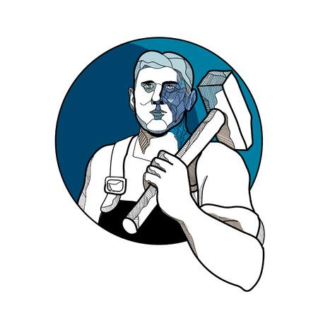 Ilustración de estilo boceto de dibujo de un sindicalista, trabajador de fábrica o trabajador comunista con un martillo en el hombro visto desde el frente dentro del círculo. Foto de archivo - 97892419