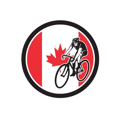 Icon retro style illustration of a Canadian cyclist cycling riding road bike with Canada maple leaf flag set inside circle on isolated background.