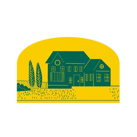 ヴィンテージアメリカの家、家、住居や、孤立した背景に半円の内側に設定されたフロント芝生、木やフェンスと住居のレトロなスタイルのイラス