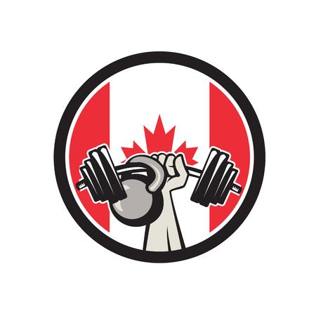 Icône de style rétro illustration d'une main canadienne soulevant une barre et un kettlebell avec le drapeau de la feuille d'érable du Canada situé à l'intérieur du cercle sur fond isolé. Banque d'images - 97789042