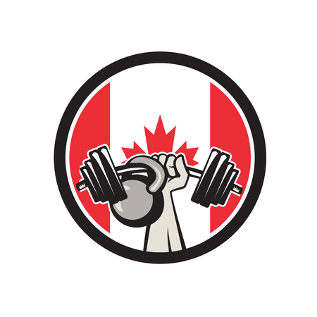 Icon retro style illustration of a Canadian hand lifting a barbell and kettlebell with Canada maple leaf flag set inside circle on isolated background. Иллюстрация
