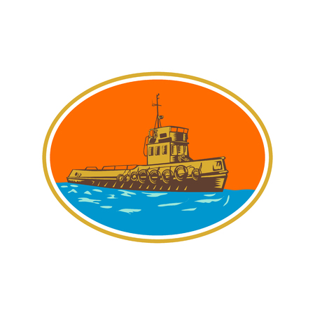 Retro woodcut style illustration of tug, tugboat or towboat, a type of marine vessel that maneuvers other ship or boat by pushing pulling by direct contact or by tow line set inside oval shape.