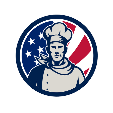 Icon retro style illustration of an American baker, chef or cook fron view with United States of America star spangled banner.