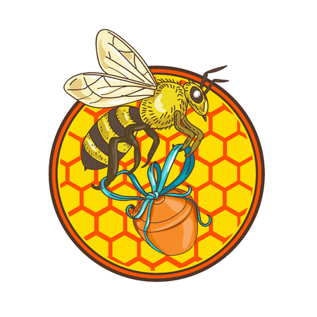 Icon retro style illustration of a bumblebee or bumble bee. Иллюстрация