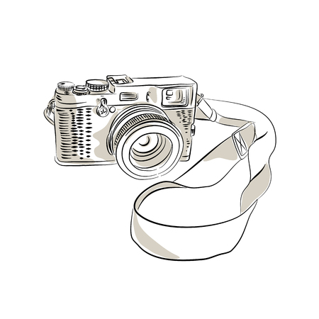 Drawing sketch style illustration of a vintage 35mm SLR  film camera with sling or strap and zoom lens on isolated background.