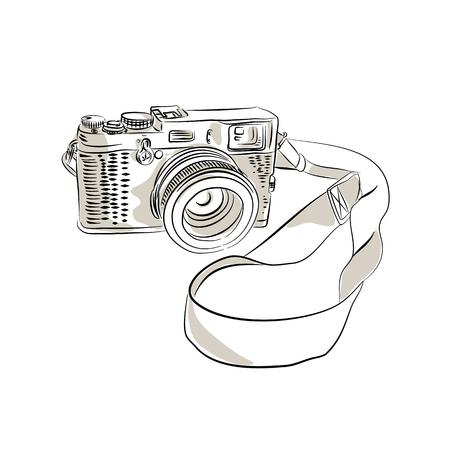 Zeichnungsskizzen-Artillustration einer Weinlese 35mm SLR-Filmkamera mit Riemen- oder Bügel- und Zoomobjektiv auf lokalisiertem Hintergrund. Standard-Bild - 97789043