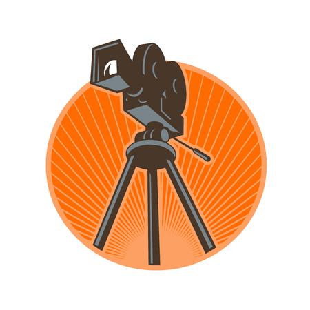 ヴィンテージ35mmモーションピクチャーカメラ、フィルムまたはムービーカメラのアイコンレトロスタイルのイラストは、孤立した背景にサンバース