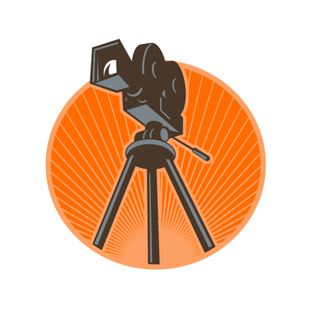 Icon retro style illustration of a Vintage 35mm Motion Picture Camera, film or movie camera set on tripod viewed from low angle worms eye view set inside circle with sunburst on isolated background. Illustration