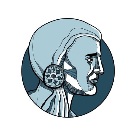 孤立した背景に円の内側に設定された側から見たネイティブアメリカンインディアンの勇敢または戦士のスケッチスタイルのイラストを描きます。
