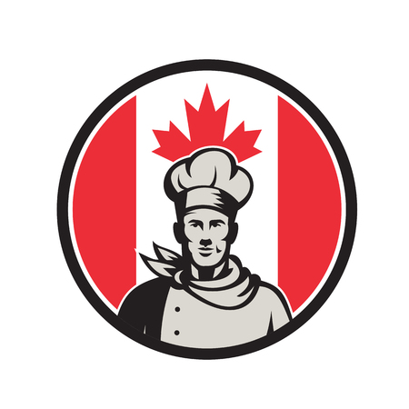 Icon retro style illustration of a Canadian chef, baker or cook.