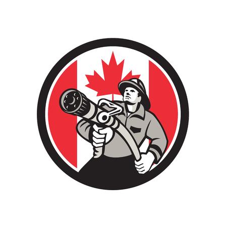 Ikonenretrostilillustration eines kanadischen Feuerwehrmanns oder des Feuerwehrmanns, die eine Vorderansicht des Feuerlöschschlauchs mit Kanada-Ahornblattflagge halten, stellte innerhalb des Kreises auf lokalisiertem Hintergrund ein. Standard-Bild - 98369808