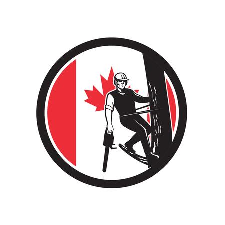 Icône de style rétro illustration d'un chirurgien, arboriculteur, arboriculteur ou arboriculteur canadien, un professionnel de l'arboriculture tenant une tronçonneuse arbre drapeau de feuille d'érable du Canada situé à l'intérieur du cercle. Banque d'images - 98369813