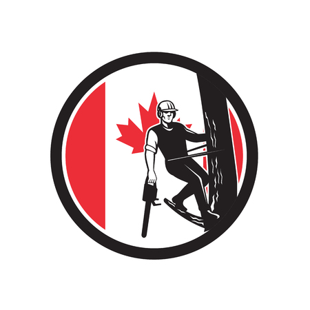 Icon retro style illustration of a Canadian tree surgeon, arborist, tree surgeon, or arboriculturist, a professional of arboriculture holding chainsaw up tree Canada maple leaf flag set inside circle. Çizim