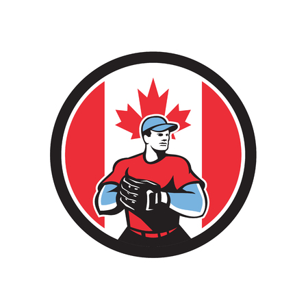 Icon retro style illustration of a Canadian baseball pitcher or catcher wearing mitts with Canada maple leaf flag set inside circle on isolated background.