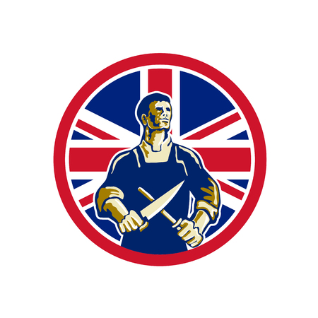 Icon retro style illustration of a British butcher sharpening knife viewed from front with United Kingdom UK, Great Britain Union Jack flag set inside circle on isolated background.