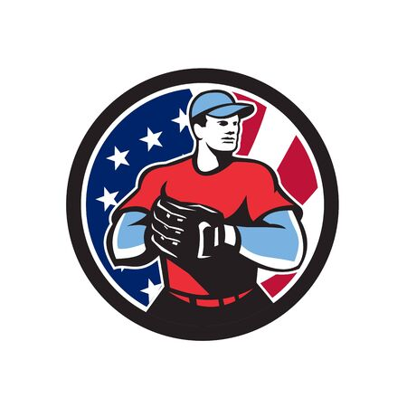 Icon retro style illustration of an American baseball pitcher or catcher wearing mitts  with United States of America USA star spangled banner or stars and stripes flag inside circle isolated background.