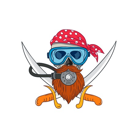 Drawing sketch style illustration of a pirate skull with hipster beard and wearing a diver or diving mask and regulator with crossed sword or cutlass and bandana or kerchief on isolated background. Иллюстрация