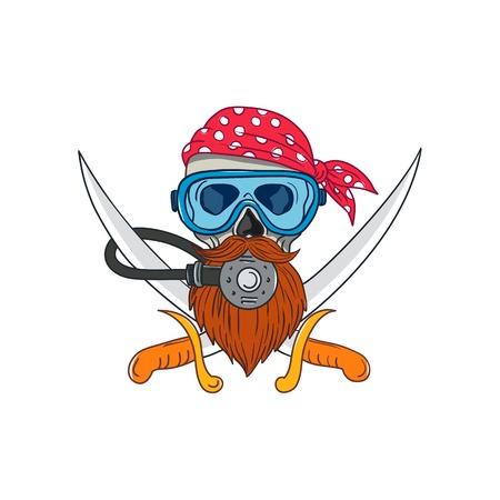 Het trekken van de illustratie van de schetsstijl van een piraatschedel met hipsterbaard en het dragen van een duiker of duikend masker en regelgever met gekruist zwaard of cutlass en bandana of hoofddoek op geïsoleerde achtergrond.
