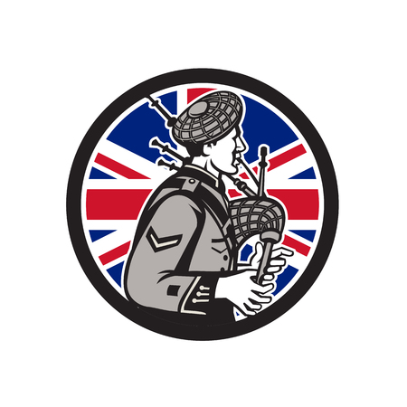 Icon retro style illustration of a British bagpiper playing the Scottish Great Highland bagpipes with United Kingdom UK, Great Britain Union Jack flag set inside circle on isolated background.
