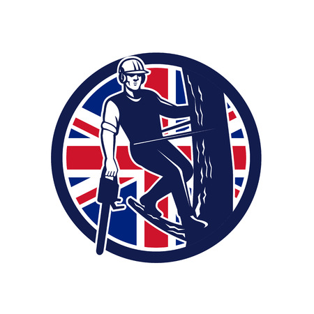 Icon retro style illustration of a British tree surgeon, arborist, tree surgeon, arboriculturist, holding chainsaw up tree branch with United Kingdom UK, Great Britain Union Jack flag inside circle. Reklamní fotografie - 98369815