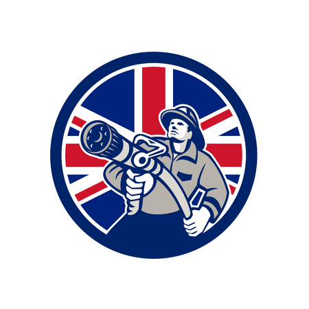 Icon retro style illustration of a British firefighter or fireman holding a fire hose front view  with United Kingdom UK, Great Britain Union Jack flag set inside circle on isolated background.