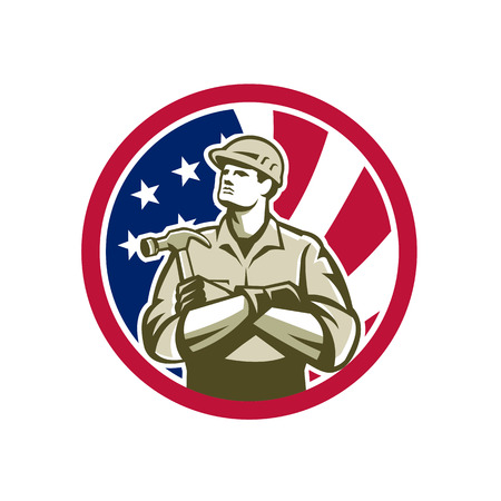 Icon retro style illustration of American builder, carpenter, construction worker with hammer arms crossed  with United States of America USA star spangled banner or stars and stripes flag in circle. Reklamní fotografie - 98369817