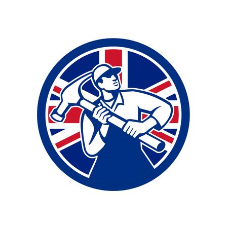 Icon retro style illustration of British handyman, carpenter, builder, joiner, construction worker holding hammer  with United Kingdom UK, Great Britain Union Jack flag set circle isolated background. Illusztráció
