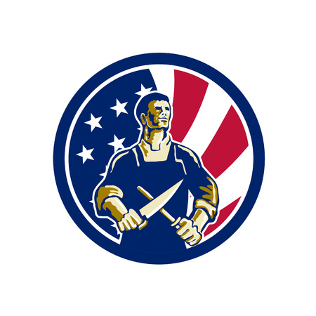 Icon retro style illustration of an American butcher sharpening knife viewed from front  with United States of America USA star spangled banner or stars and stripes flag in circle isolated background.