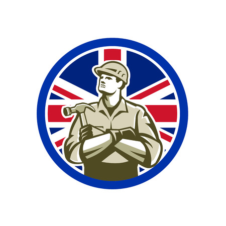 Icon retro style illustration of British builder, carpenter or construction worker with hammer arms crossed with United Kingdom UK, Great Britain Union Jack flag set inside circle isolated background. Illustration