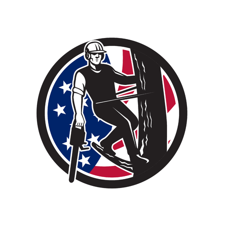 Icon retro style illustration of American tree surgeon, arborist, tree surgeon, arboriculturist, holding chainsaw United States of America USA star spangled banner stars and stripes flag in circle. Vettoriali