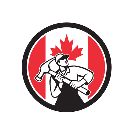 Icon retro style illustration of a Canadian handyman, carpenter, builder, joiner, construction worker holding a hammer with Canada maple leaf flag set inside circle on isolated background. Vettoriali
