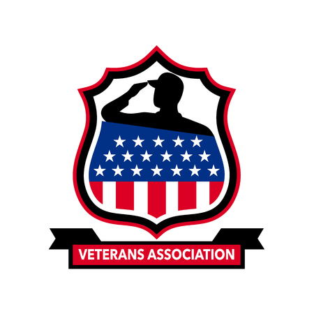 Icon retro style illustration of an American veteran soldier saluting with an USA stars and stripes star spangled banner set inside crest with words Veterans Association on isolated background.